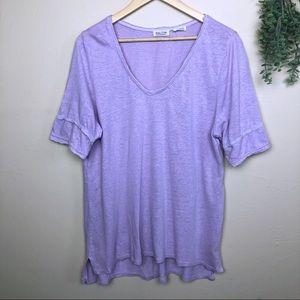 Meadow Rue | Linen Blend V Neck T-Shirt
